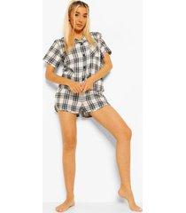 woman gestreepte flanelen pyjama set met shorts, black