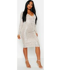 all over sequin ruched midi dress, metallic silver