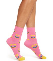 women's happy socks happy rainbow half crew socks