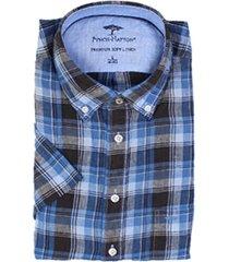 fynch-hatton fynch-hatton short sleeve linnen overhemd blauw