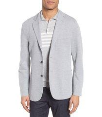 men's eleventy slim fit jersey sport coat, size 48 r eu - grey