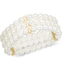 charter club gold-tone imitation pearl triple-row stretch bracelet, created for macy's