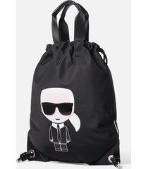 karl lagerfeld women's k/ikonik nylon flat backpack - black