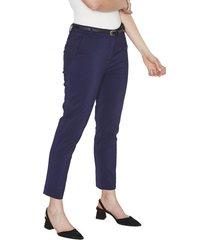 pantalon pierna recta liso azul lorenzo di pontti