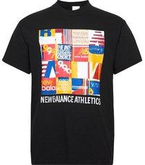 nb athletics kenji tile tee t-shirts short-sleeved svart new balance