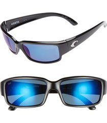 costa del mar caballito 60mm polarized sunglasses in black/blue mirror at nordstrom