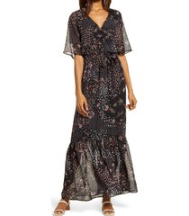 women's chelsea28 floral dolman elbow sleeve dress, size x-large - black