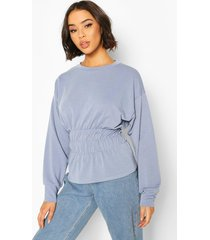 deep shirred waist sweat top, blue
