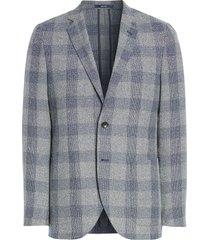 men's 1901 x-trim fit neppy plaid sport coat, size x-small - grey