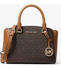 mk borsa a mano maxine piccola con logo - marrone - michael kors