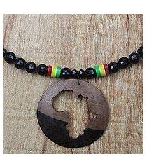 ebony wood and recycled glass beaded pendant necklace, 'african world' (ghana)