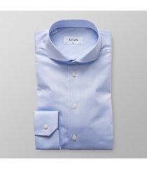 eton heren overhemd licht signature twill slim fit extra cutaway blauw