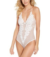 inc floral embroidered sheer swiss-dot bodysuit, created for macy's
