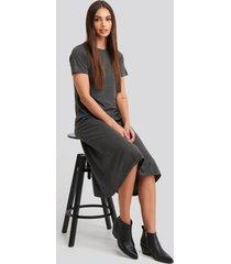 trendyol short sleeve knitted midi dress - grey