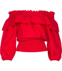 katoenen off-shoulder top bandera  rood