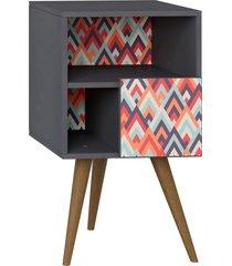 mesa de cabeceira c/ porta expresso/estampa vermelha be mobiliã¡rio - cinza - dafiti