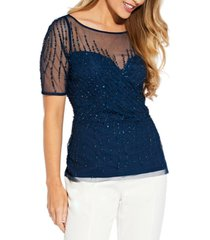 adrianna papell beaded illusion-detail top