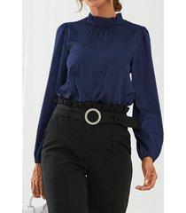 camicetta casual a maniche lunghe con colletto alla coreana da donna
