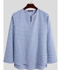 incerun - conjunto de pijama de manga larga informal cómodo y a cuadros de algodón para hombre