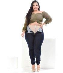 calã§a jeans feminina skinny modeladora super lipo plus size com cinta - azul - feminino - dafiti