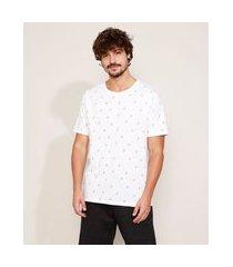 camiseta masculina estampada coqueiros manga curta gola careca branca
