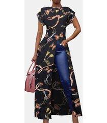camicetta lunga da donna con scollo a manica corta con stampa a farfalla divisa