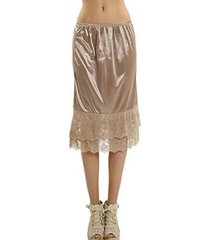[shop lev] melody women's long double lace satin skirt extender / half slip (sma