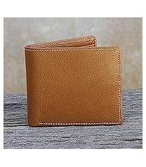 men's leather wallet, 'classic in saddle brown' (thailand)
