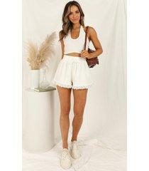showpo dont foul me shorts in white - 20 (xxxxl) tailored shorts