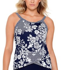 swim solutions rosie naut printed crisscross underwire tankini, created for macy's women's swimsuit