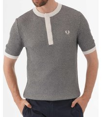 fred perry buttoned knitted crew neck t-shirt - snow white k5320-752