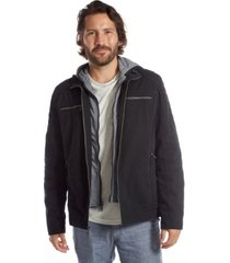 men's layered vegan leather and knit hooded jacket