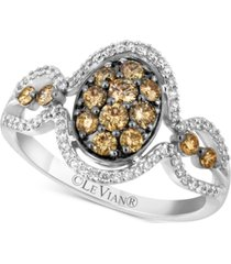 le vian chocolatier diamond oval cluster ring (3/4 ct. t.w.) in 14k white gold