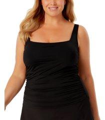 anne cole plus size square-neck shirred tankini women's swimsuit