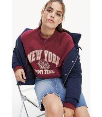 sudadera de felpa con logo y manga ranglán multicolor tommy jeans