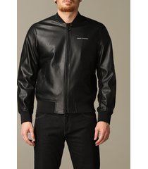 armani exchange jacket armani exchange bomber in synthetic leather with logo