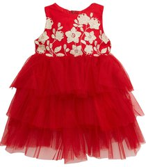 infant girl's popatu embroidered floral tiered tulle dress