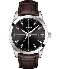 men's tissot gentleman leather strap watch, 40mm
