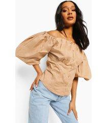 blouse met ballonmouwen en uitgesneden hals, sand