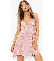 bloemenprint swing jurk met bandjes, laagjes en ruches, pink
