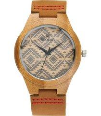 reloj de cuero de madera de bambú redear para unisex - marrón