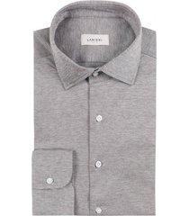 camicia da uomo su misura, maglificio maggia, marrone melange piquet cotone, quattro stagioni | lanieri