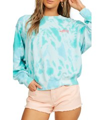 billabong ideal tie dye crewneck graphic sweatshirt, size large in tropic shore at nordstrom