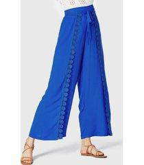 yoins cordón adornado de encaje de crochet azul real diseño pantalones