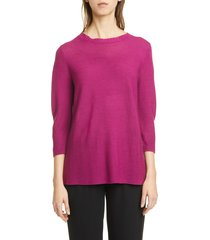 women's eileen fisher horizontal ribbed crewneck sweater, size x-large - pink
