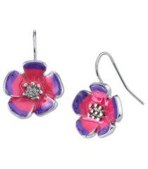 2028 silver-tone purple and pink enamel flower drop earrings