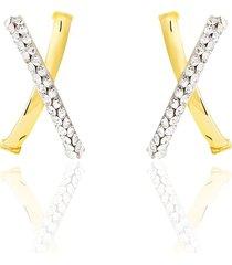 orecchini incrociati a semicerchio in oro giallo e strass per donna