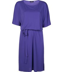 natori boat-neck tie-waist dress - blue