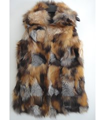 long crystal red fox fur vest patchwork 100% genuine fox fur outwear plus size
