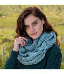 womens aqua aran infinity scarf